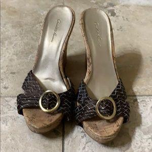 "Brown wedge ""cork"" sandals"